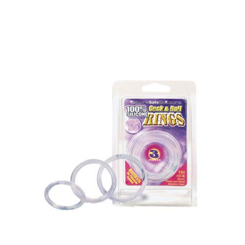 Szilikon gyűrű készlet; Átlátszó; 40, 45, 50 mm;