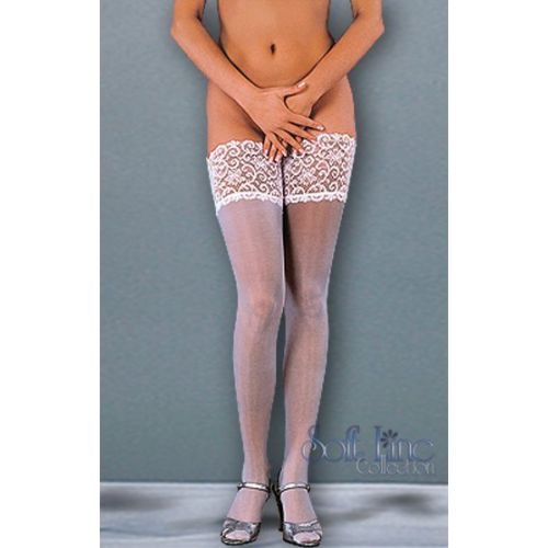 Neo-hold up stockings with wide lace